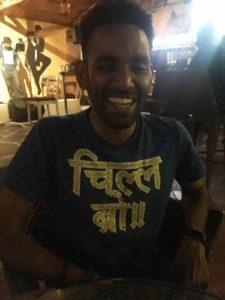 """His shirt says """"Chill Bro"""" in Hindi... haha"""